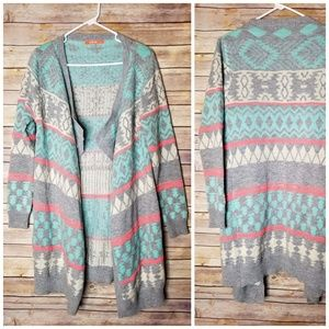 LLove Sweaters - Large LLOVE aztec print open front long cardigan